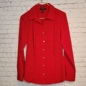Style & Co Blouse Red with Rhinestone Buttons 8